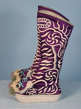 Purple silk Chinese man's boots, mid 20th century.