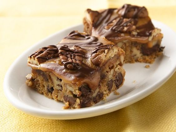 Ultimate Caramel Turtle Cookie Bars   THE BEST COOKIE BARS !!!Love chocolate and caramel? Indulge in decadent bars made easily with a cookie mix.