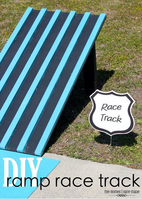 DIY Ramp Race Track - simple toddler activity using some pre-cuts from the hardware store and paint!