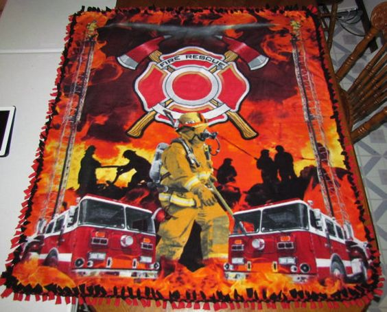 Fleece Blanket No Sew Full Queen Size Double Sided Fire