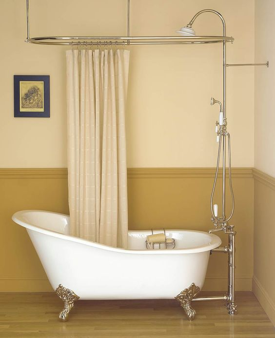 Clawfoot Tub Shower Shower Curtain Rods And Clawfoot Tubs On Pinterest