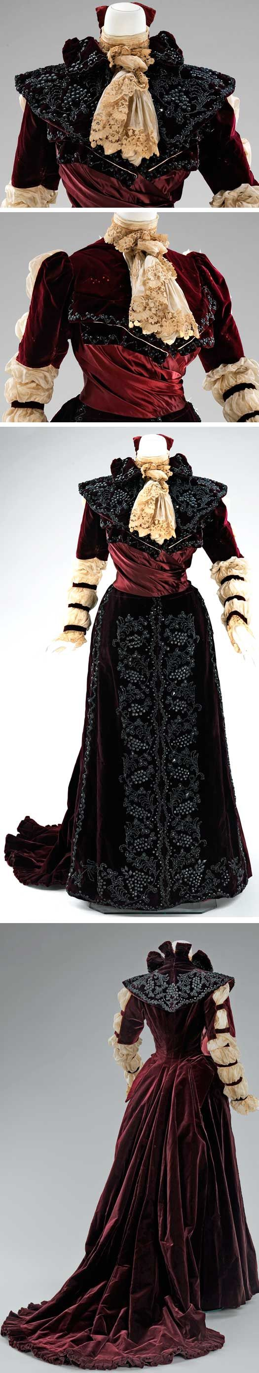 """Dress, American, 1890. Silk and linen.  Metropolitan Museum of Art: """"This dress is in keeping with the interest in historical revivals popular in the 19th century. The long puffed sleeves refer to both Elizabethan and early 19th-century styles. The one-piece construction indicates it was probably intended for formal reception at home."""""""