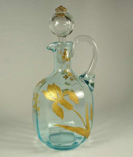 Antique French Art Glass Carafon, Demi-Caraf with Raised Gold Enamel for Single Setting Wine or Water
