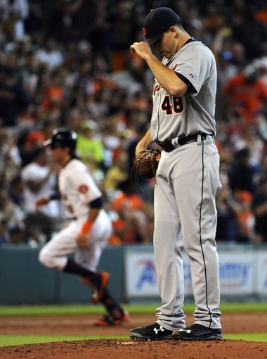 Detroit Tigers pitcher Matt Boyd (48) adjust his cap
