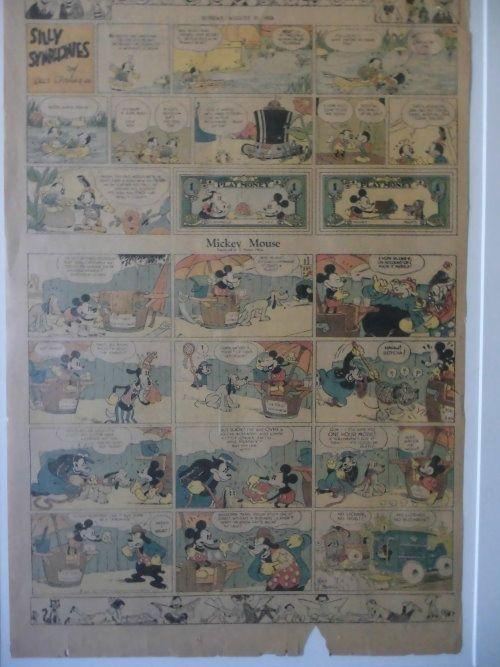 Mickey Mouse – Zeitungsbeilage Original US-Zeitungsbeilage aus Anfang der Fünfziger Jahre mit Comic-Strips von MICKEY MOUSE etc. In damaliger 4-Farb-Drucktechnik hergestellt. www.starcollector.de