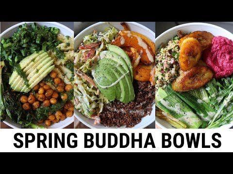 2 Spring Buddha Bowls Easy Delicious Youtube Vegan Bowl Recipes Buddha Bowl Vegetarian Veggie Recipes