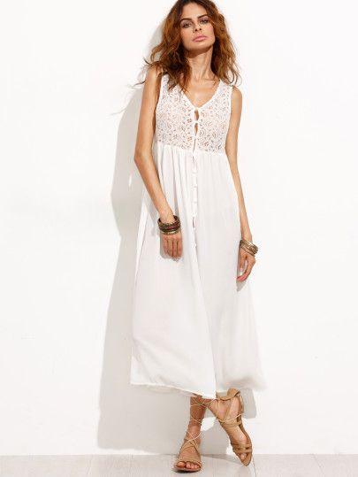 White Crochet Insert Button Front Shirt Dress