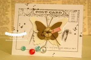 Post Card Stamp With Butterflies.  Dawn Bourgette - Dawn's Creative Chalet http://www.dawnscreativechalet.com