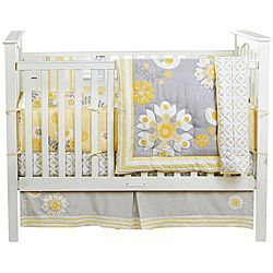 @Overstock - The MiGi Sweet Sunshine crib set features a modern floral pattern in yellow and gray. The set includes a soft comforter, dust ruffle, and fitted sheet.  http://www.overstock.com/Baby/BananaFish-MiGi-Sweet-Sunshine-3-piece-Crib-Bedding-Set/6452517/product.html?CID=214117 $113.99