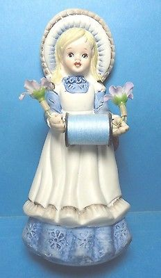 Vintage Country Girl  Porcelain Sewing Pin Cushion Doll Figurine  #1