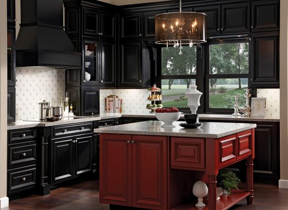 i love the red island with the black cabinets i believe i 39 m going with rustic cherry in. Black Bedroom Furniture Sets. Home Design Ideas