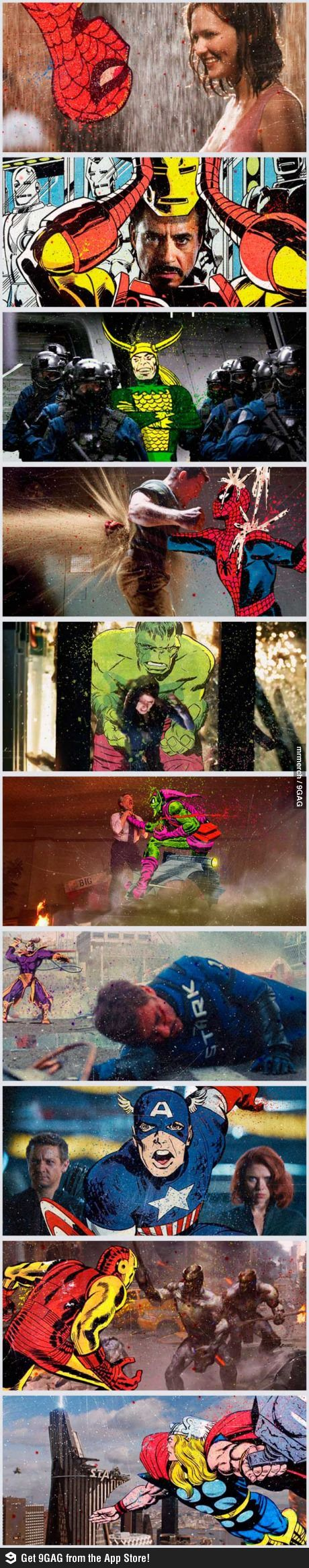 Marvel Movies; Crossover between movies and its comics. EPIC.