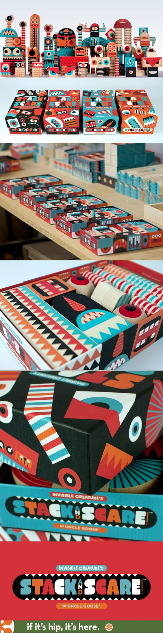Stack and Scare by Invisible Creatures. Four sets of beautifully designed blocks, each in great package design.
