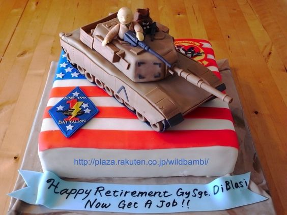 A1-M1 Abrams Retirement cake - Both the bottom tier and the tank are made of cake.