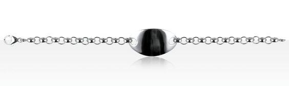 Bracelet Argent IDENTITE ROLO 60/PLAQUE OVAL LARGE