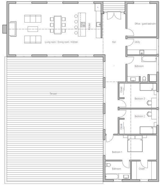 Plano de casa con diseño muy original y 3 dormitorios-3
