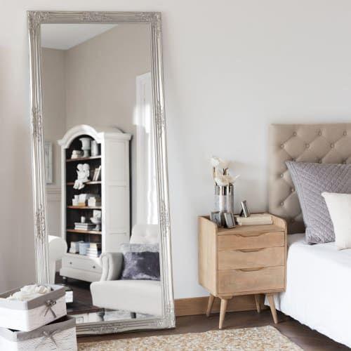 Miroir En Paulownia Argente 80x190 Maisons Du Monde En 2020 Meuble Salle A Manger Mobilier De Balcon Rideau Chambre Enfant