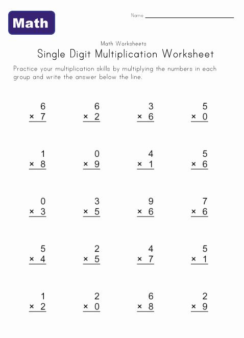 Printables Multiplication Worksheets For 2nd Grade single digit multiplication worksheet 1 going to help emma this summer get a head start on grade math