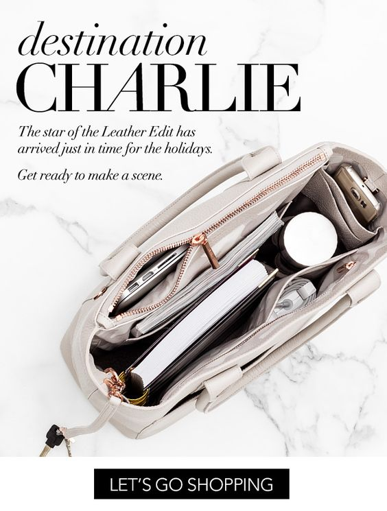 Destine CHARLIE. The star of the Leather Edit has arrived just in time for the holidays. Get ready to make a scene. Let's go shopping: http://www.dagnedover.com/products/the-charlie-tote