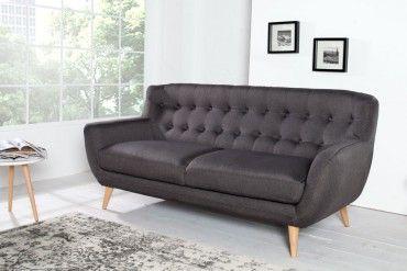 Retro Designklassiker 3er Sofa SCANDINAVIA MEISTERSTÜCK anthrazit 3-Sitzer