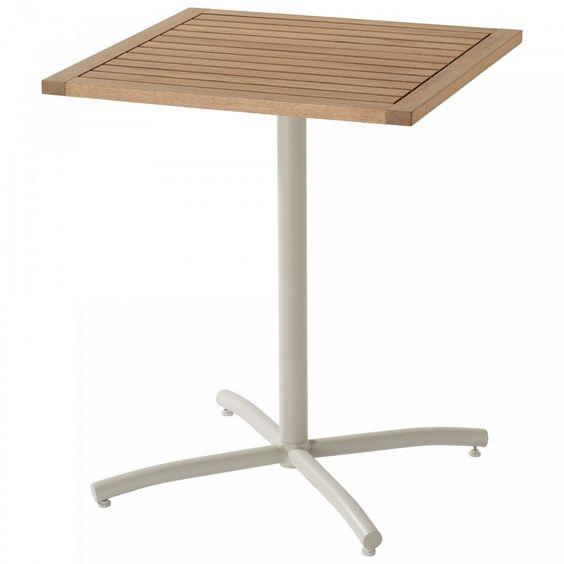Tischplatte Aus Eukalyptushartholz Freundliches Gestell In Offwhite Kompakt Quadratisch 61 9 X 61 9 Cm Balkontisch Tisch Kleiner Esstisch