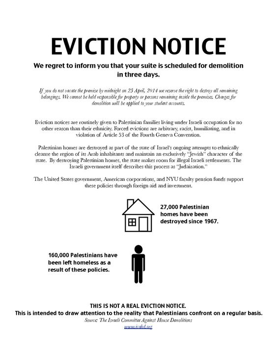 Statement regarding NYU SJPu0027s mock eviction notice action NYU - how to write a letter of eviction