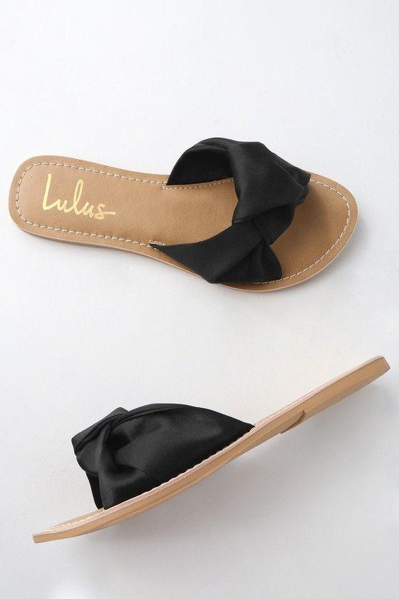 Makenzie Black Satin Slide Sandals