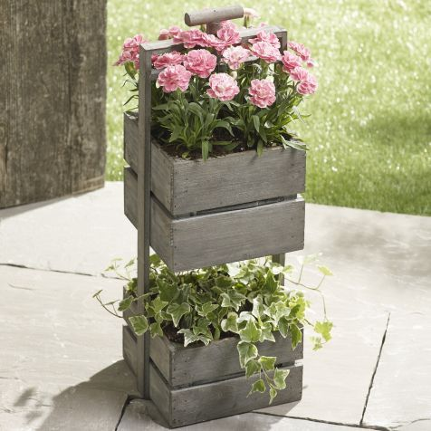Our luxury two tiered planter with pink dianthus is an ideal solution to brighten up small outdoor spaces.