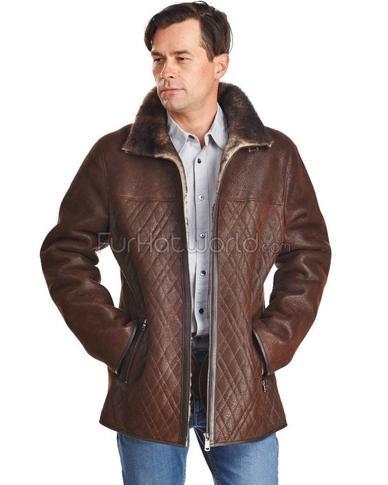 The Andrew Vintage Distressed Shearling Sheepskin Car Coat