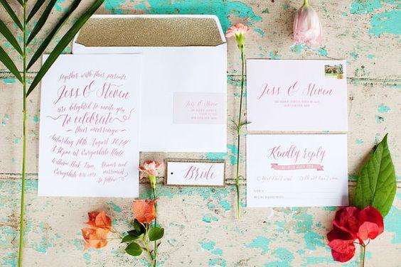 Invitations de mariage de calligraphie et par SunshineandConfetti