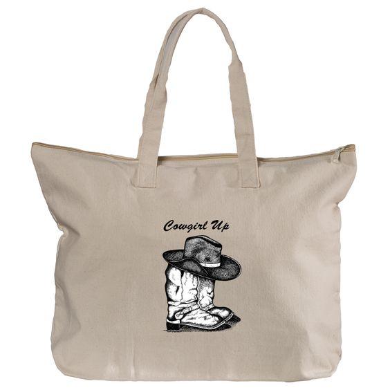 Handmade Original Design Canvas Zippered Tote Bag 12ozs
