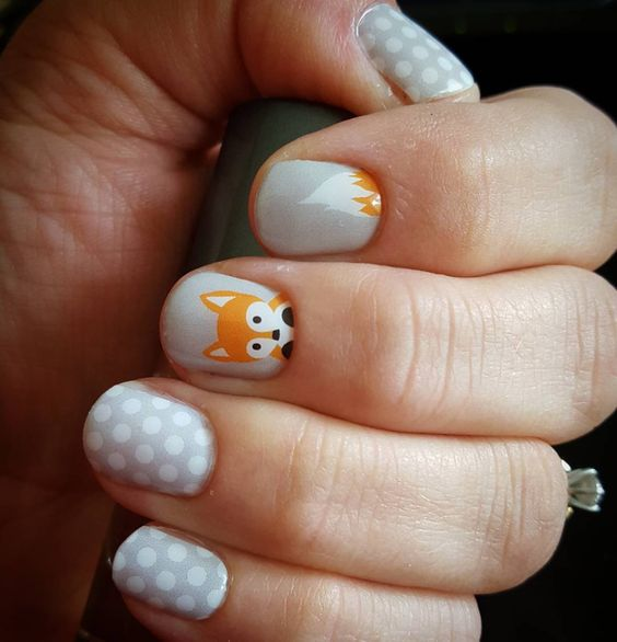 Can't stop admiring the cuteness. #fauxfoxjn #greyandwhitepolkajn https://justmyjamstyle.jamberry.com/product/faux-fox#.Vhv8Y1VHbCQ: