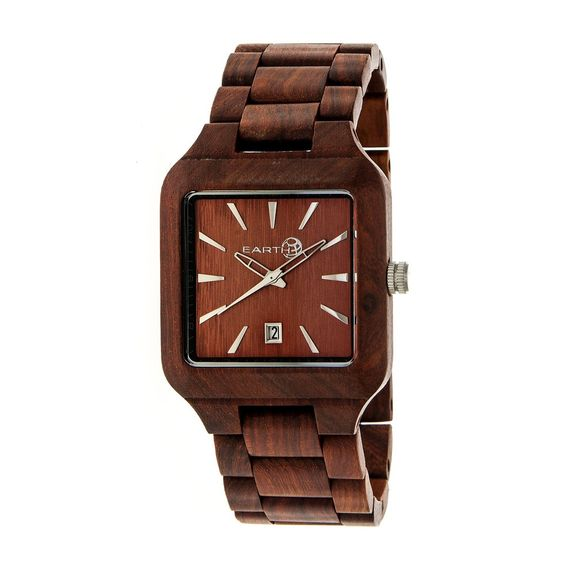 Eco-Friendly Sustainable Wood Case Quality Japanese Quartz Movement Non-Glare Scratch-Resistant Mineral Crystal Logo-Engraved Wood Caseback Eco-Friendly Sustainable Wood Bracelet Logo-Engraved Stainless Steel Jewelry Clasp Date Display 39mm Width Splash Resistant Due to Seasons and Aging of Wood; colors may be Darker or Lighter than pictured. Band Color: Red Wood; Band …