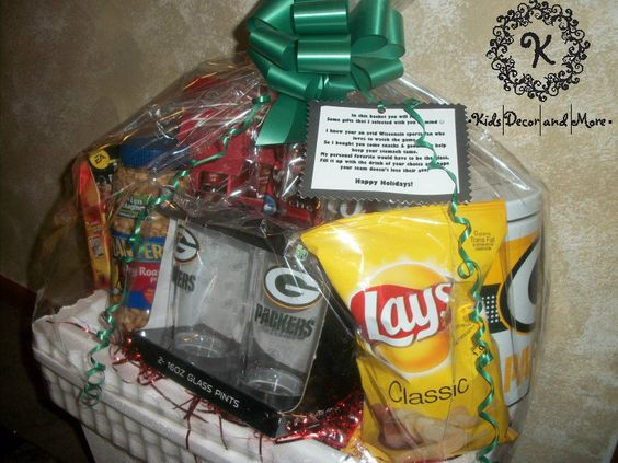 Gift Baskets For Male Coworkers : Sports theme game day gift basket mens boss coworker