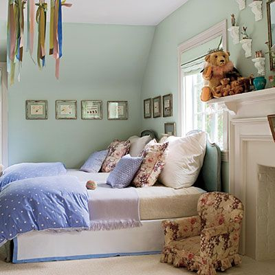 Wall paint: Angelica (AF-665), also by Benjamin Moore.  What a beautiful child's room.