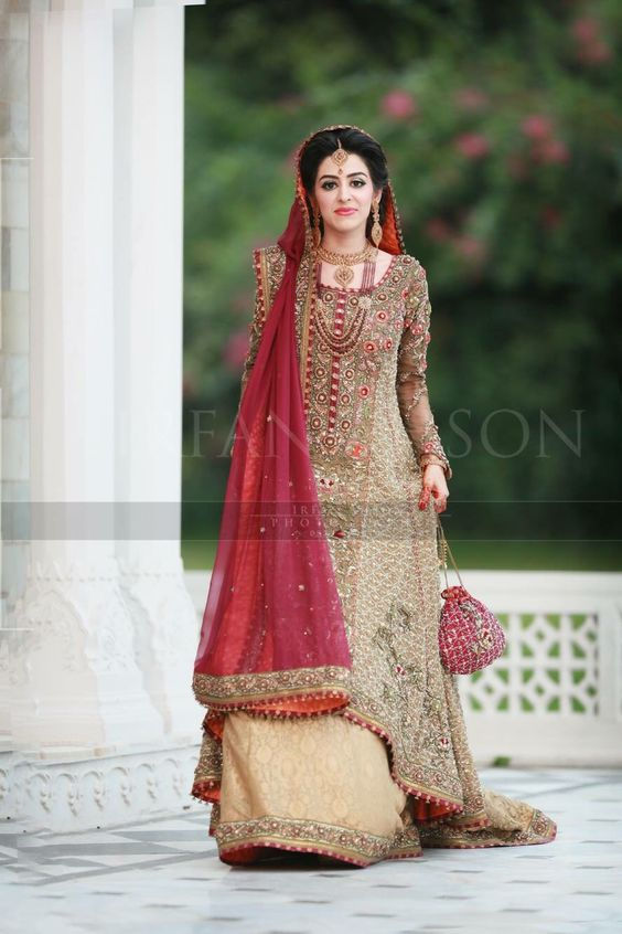 Long A-Line golden Lehnga for brides