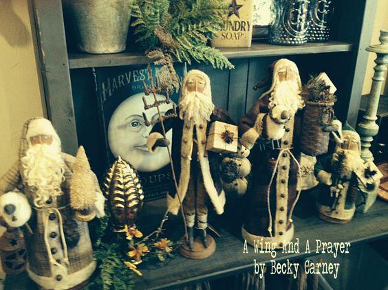 "A collection of My Santas at ""Main Street Primitives"" in Salem, VA"