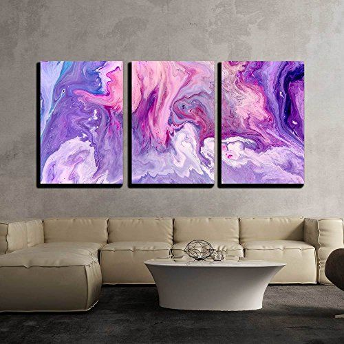 Wall26 3 Piece Canvas Wall Art Abstract Purple Paint Background Acrylic Texture With Marble Pattern Modern Purple Painting Canvas Wall Art Purple Paint