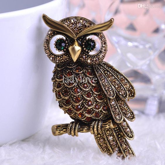 e Korea Neue Ankunfts Big Owl Brosche Für Hochzeits Blumenstrauß Vintage Hochzeits Schal Hijab Pin Up
