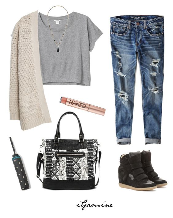 """End of the Year OOTD"" by igamine ❤ liked on Polyvore featuring Monki, American Eagle Outfitters, Isabel Marant, MANGO, Sole Society, Urban Decay and Under One Sky"