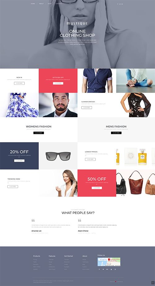 Website Template For Shopping Store Front Page Ecommerce Web Design Web Layout Design Ecommerce Design