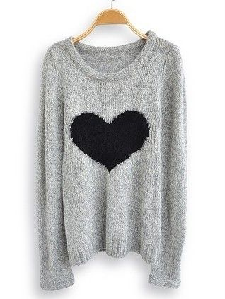 Light Grey Long Sleeve Love Heart Sweater: