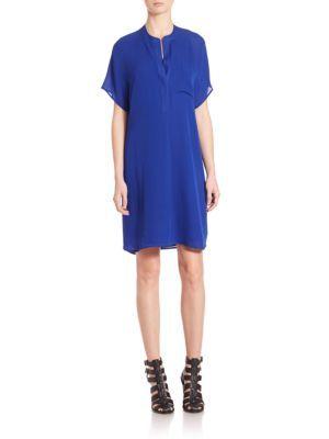 VINCE Pocketed Silk Shift Dress. #vince #cloth #dress