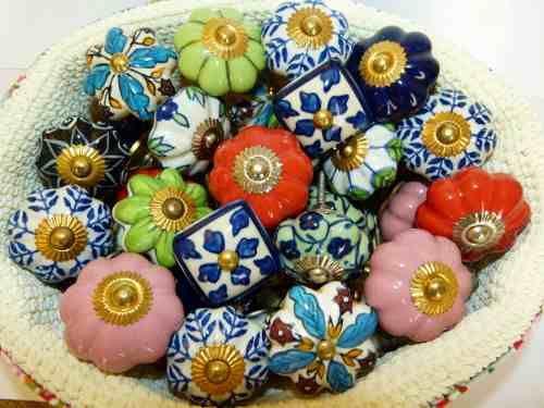 Tiradores de cer mica manijas flor grande puertas y - Tiradores de porcelana ...