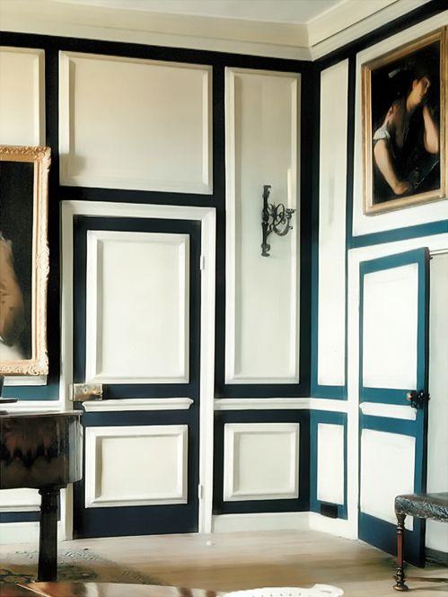 parede c/ wood panelling pintada em 2 cores