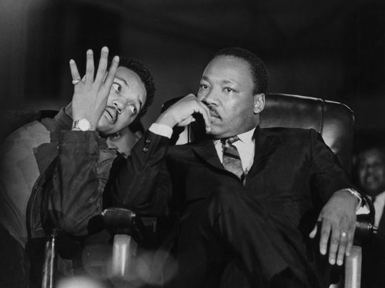 Martin Luther King Jr Seated With Aide Jesse Jackson Arrives At
