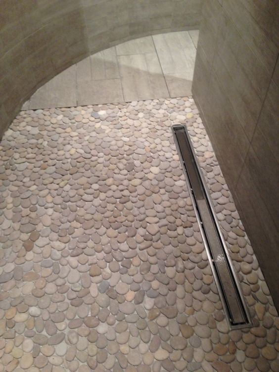 Pebble mosaic shower floor, linear drain, large- format ...