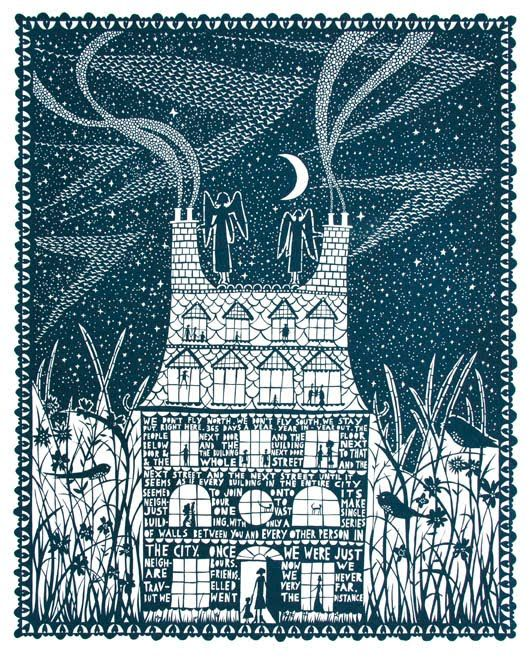 Rob Ryan - The equal use of both empty space and coloured card is something that I want to use in my own cut out work however I won't make my design this intricate because it would make the map very weak and it would fall apart.