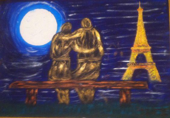 Isabel monfort luna llena en paris acrilico sobre lienzo - Acrilico sobre lienzo ...