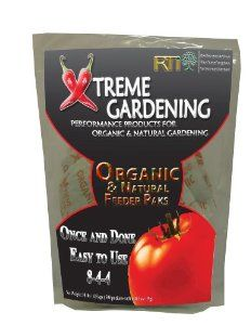 RTI Xtreme Gardening 1472 Organic Feeder Pack, 500-Count by Xtreme Gardening. $37.16. Environmentally safe, no leaching. Fully balanced and effective organic fertilizer. Faster growth, bigger yields. No burning. Apply once at the time of planting. These safe and long-lasting biodegradable paks deliver a continuous supply of plant nutrients for the entire season.  The root zone application assures that virtually every bit of fertilizer is delivered to the plant and none ...
